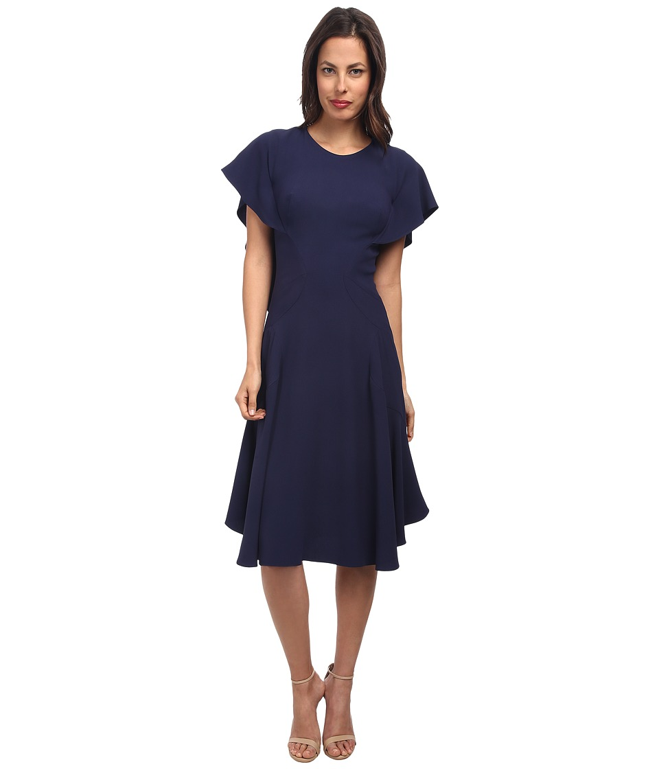 Zac Posen - Satin Back Crepe Dress (Navy) Women's Dress