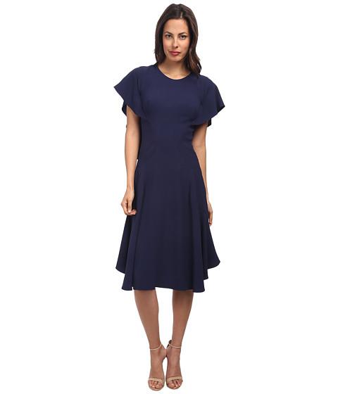 Zac Posen - Satin Back Crepe Dress (Navy) Women's Dress