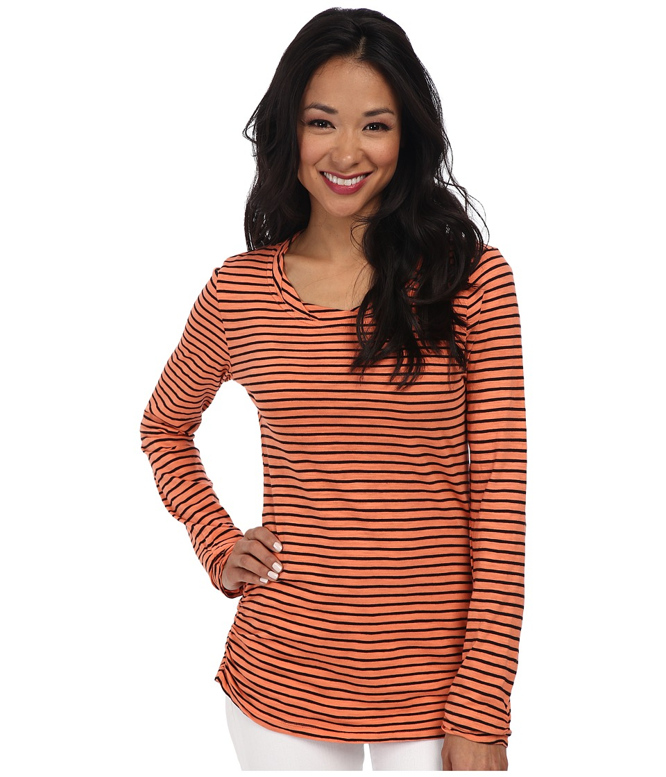 Mod-o-doc - Slub Jersey Stripe Long Sleeve Twisted Collar Tee (Marmalade) Women's T Shirt