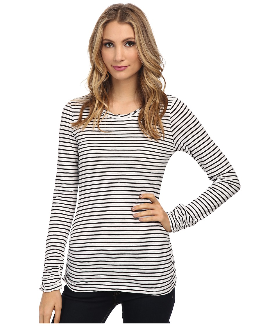 Mod-o-doc - Slub Jersey Stripe Long Sleeve Twisted Collar Tee (White) Women