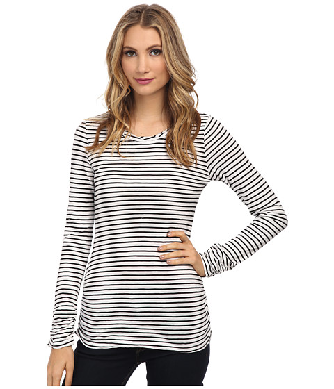 Mod-o-doc - Slub Jersey Stripe Long Sleeve Twisted Collar Tee (White) Women's T Shirt