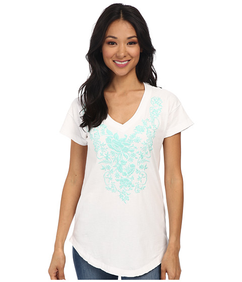 Mod-o-doc - Classic Jersey Short Sleeve Embroidered V-Neck Tee (White) Women