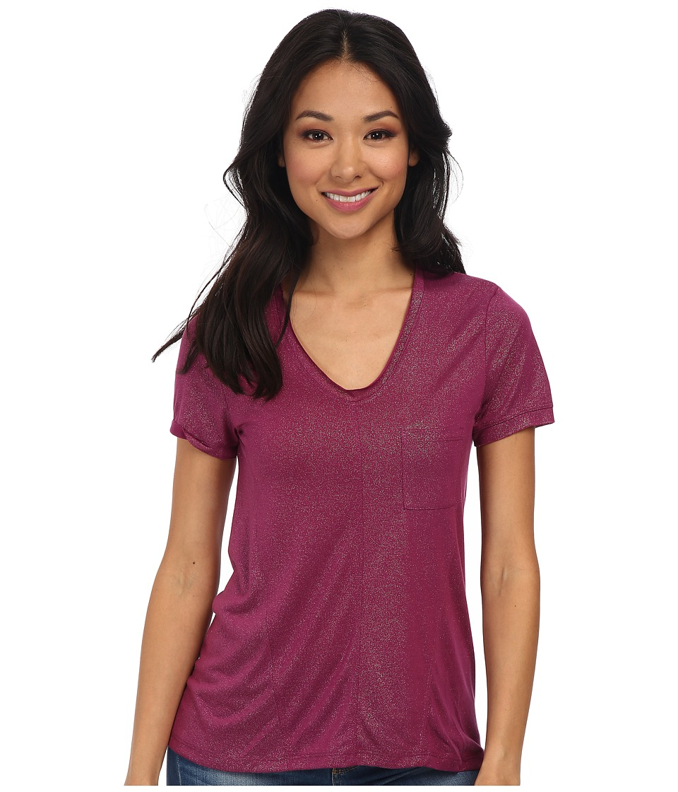 Mod-o-doc - Shimmer Jersey Short Sleeve V-Neck Pocket Tee (Garland) Women's Short Sleeve Pullover