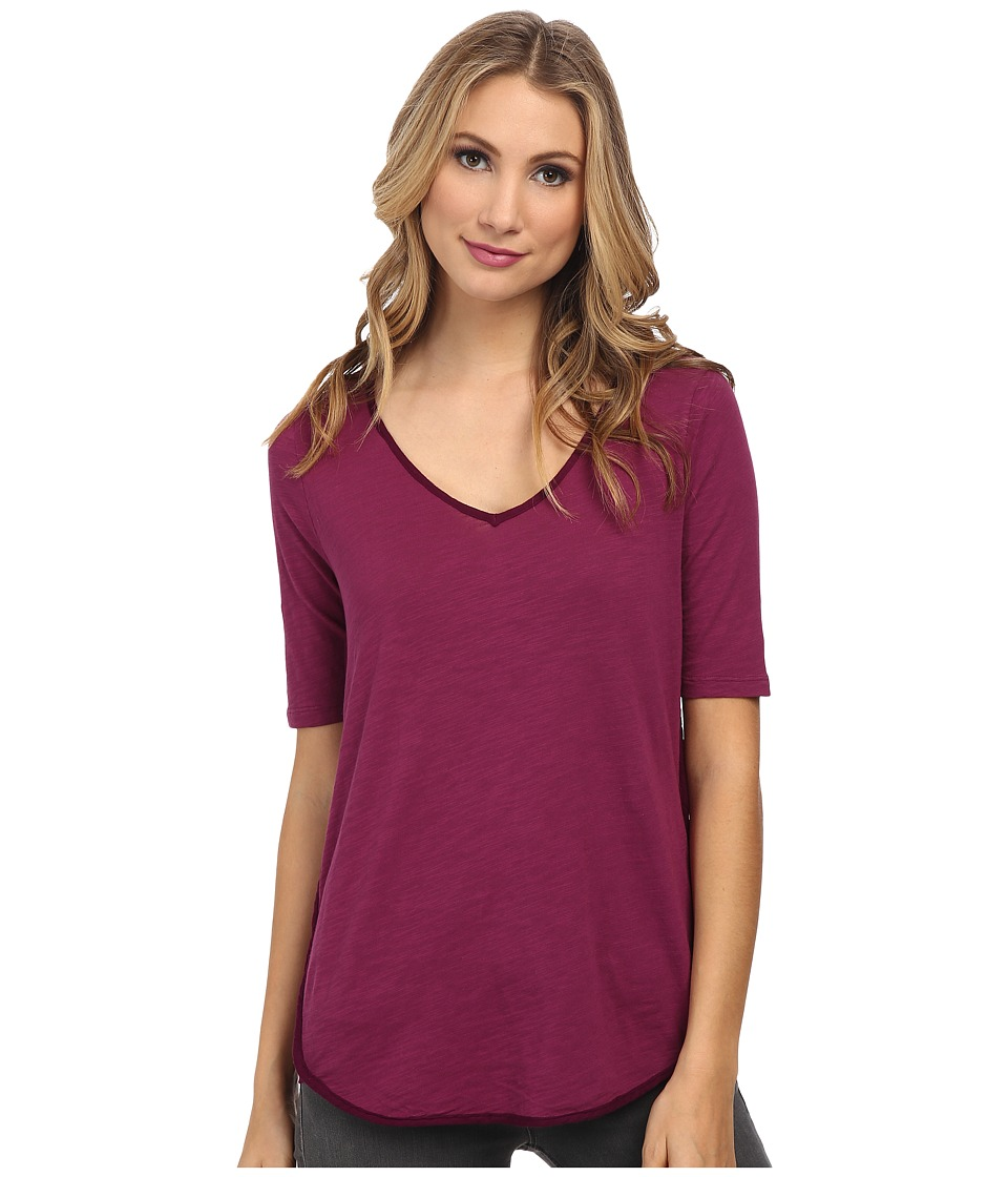 Mod-o-doc - Slub Jersey V-Neck Tee with Woven Trim (Garland) Women's T Shirt