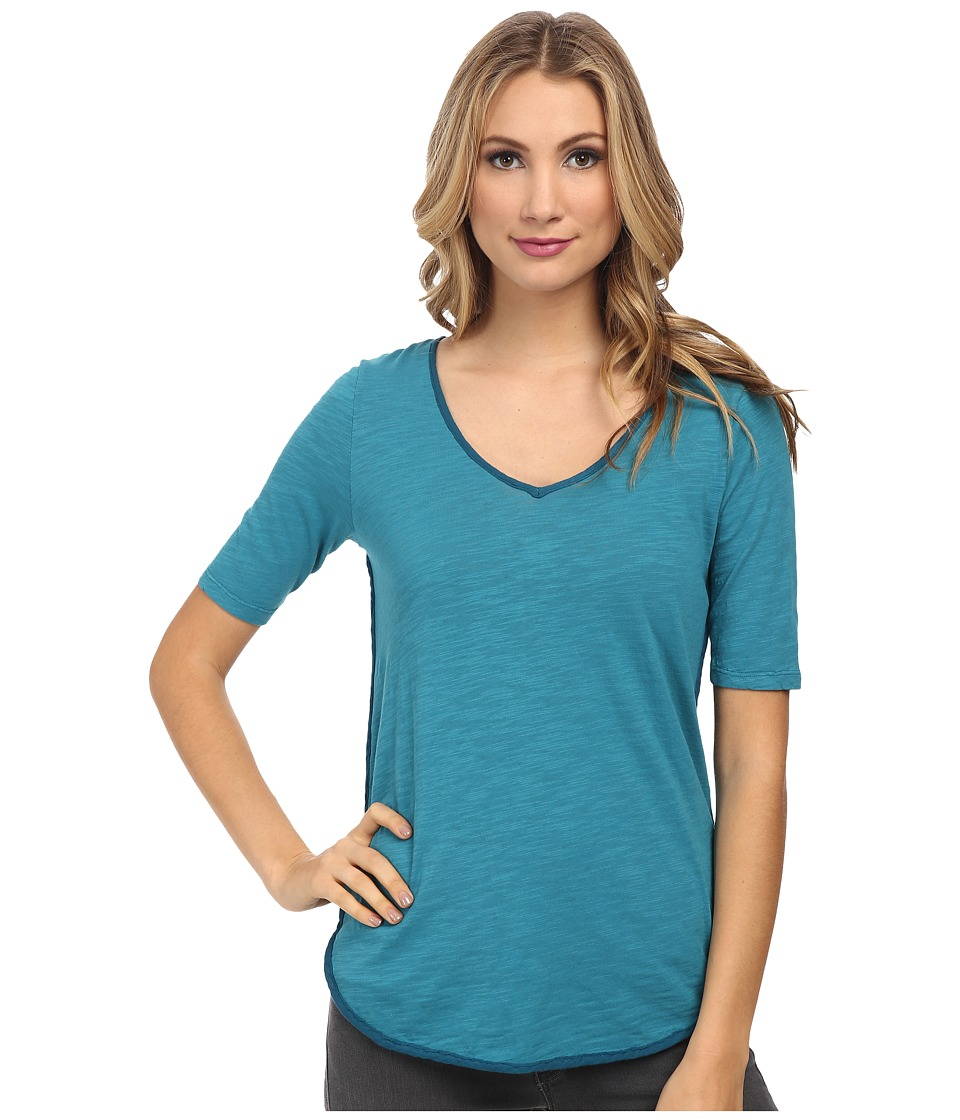 Mod-o-doc - Slub Jersey V-Neck Tee with Woven Trim (Teal Harbor) Women's T Shirt