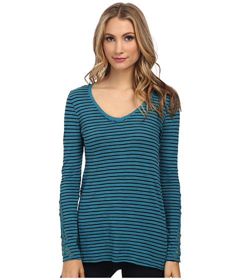 Mod-o-doc - Slub Jersey Stripe V-Neck Tee with Crochet Lace Trim (Teal Harbor) Women's T Shirt