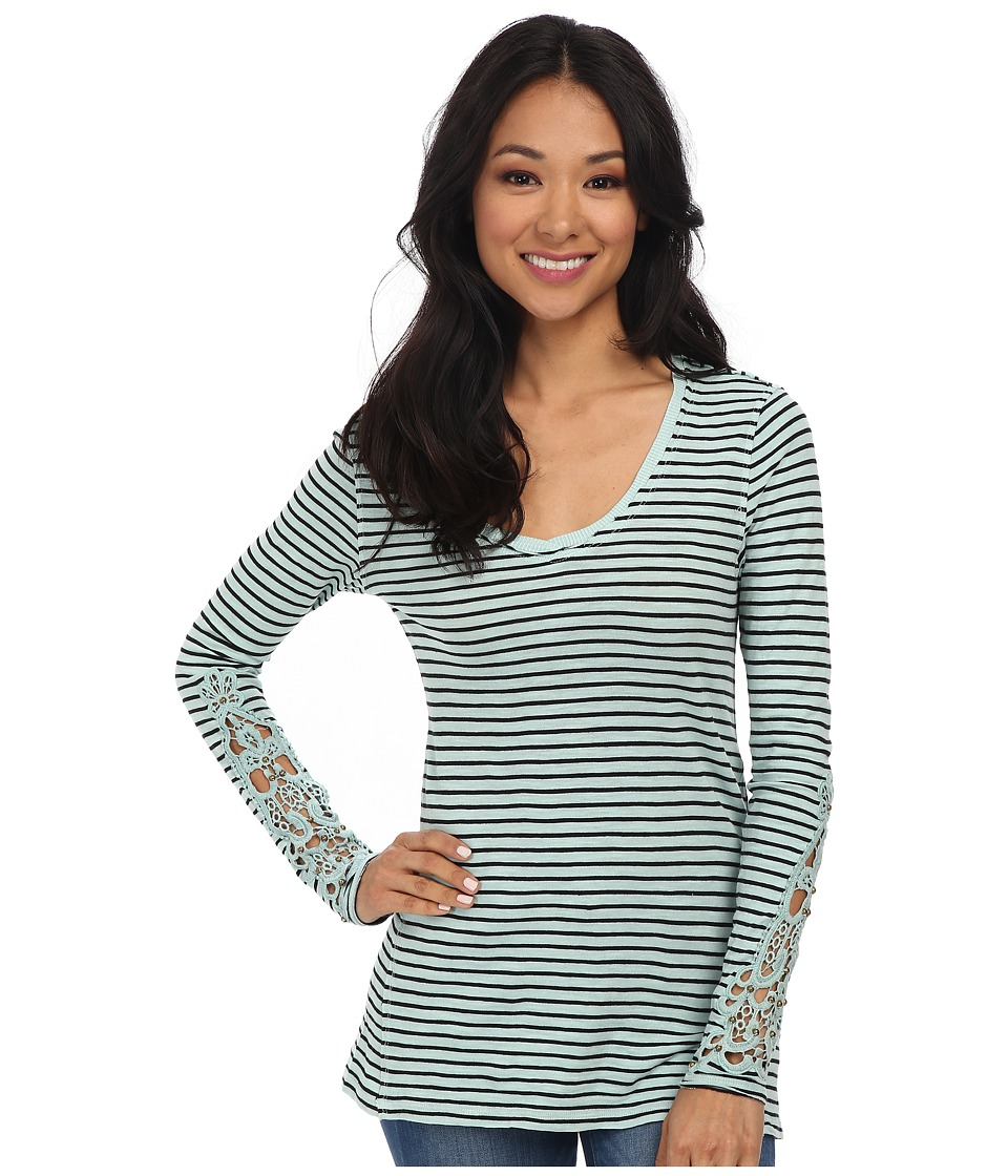 Mod-o-doc - Slub Jersey Stripe V-Neck Tee with Crochet Lace Trim (Wintergreen) Women