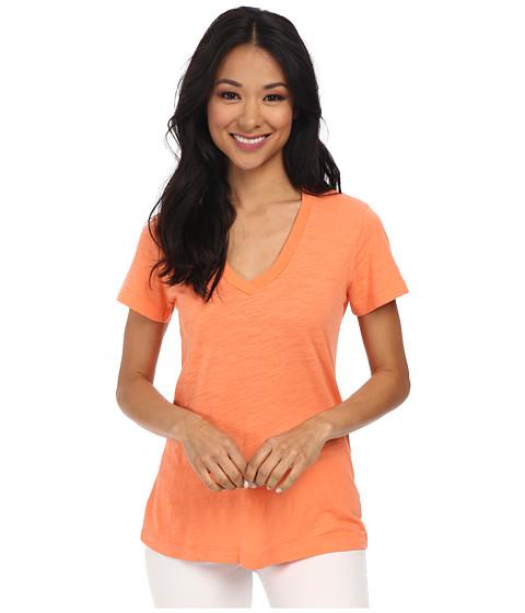 Mod-o-doc - Slub Jersey S/S V-Neck Tee (Marmalade) Women's T Shirt