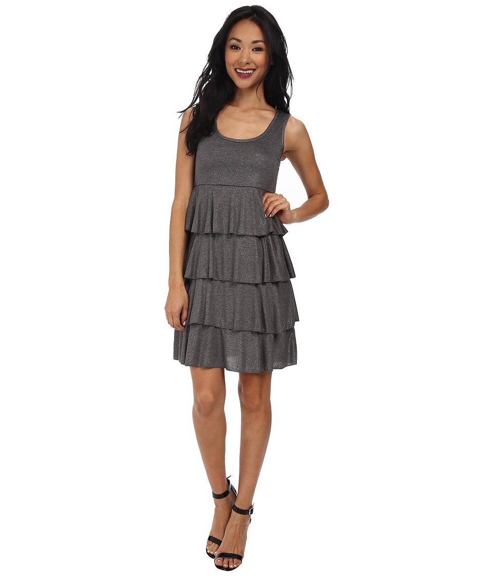 Mod-o-doc Shimmer Jersey Tiered Tank Dress (Shadow Heather) Women