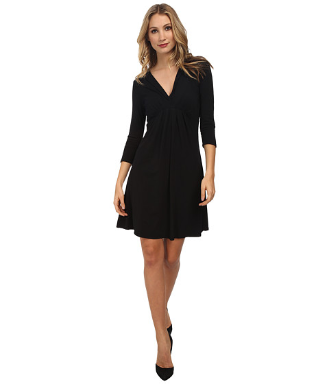Mod-o-doc - Pleated Empire Waist Dress (Black) Women's Dress