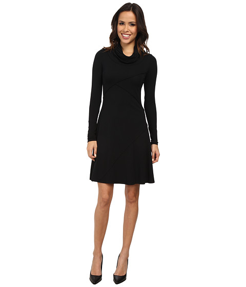 Mod-o-doc - Cotton Modal Spandex Jersey Slouchy Cowl Neck Seam Dress (Black) Women's Dress