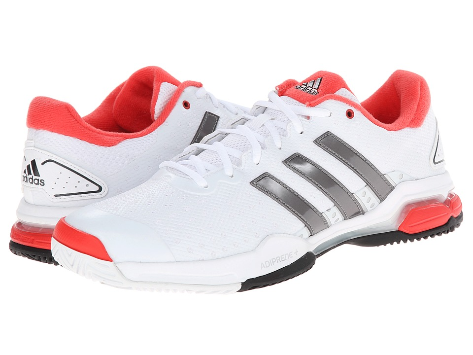 adidas - Barricade Team 4 (White/Iron Metallic/Bright Red) Men's Tennis Shoes