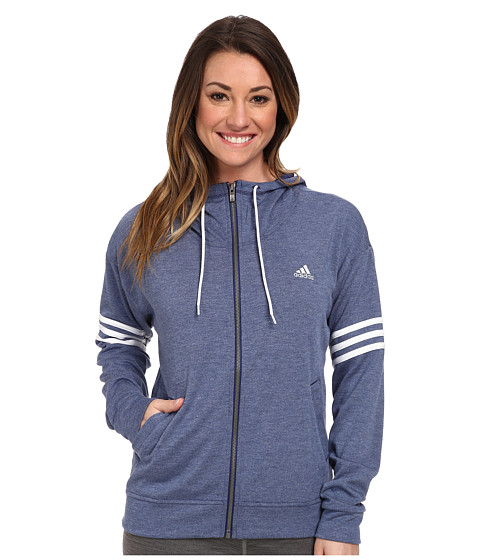 adidas - 2Love Full-Zip Hoodie (Night Sky Heather/White/Matte Silver) Women's Sweatshirt