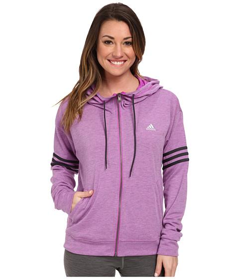adidas - 2Love Full-Zip Hoodie (Flash Pink Heather/Dark Grey/Matte Silver) Women