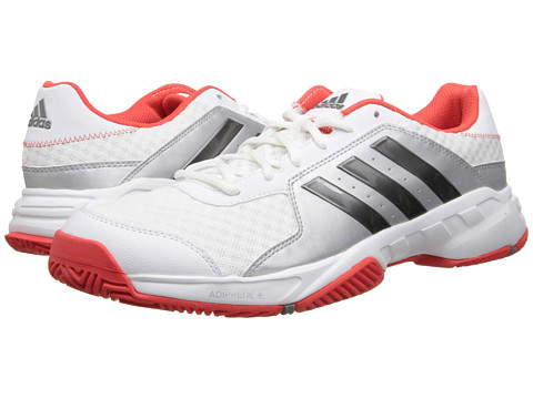 adidas - Barricade Court (White/Iron Metallic/Bright Red) Men