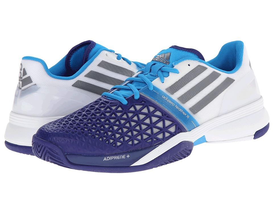 adidas - CC Adizero Feather III (White/Iron Metallic/Amazon Purple) Men's Tennis Shoes