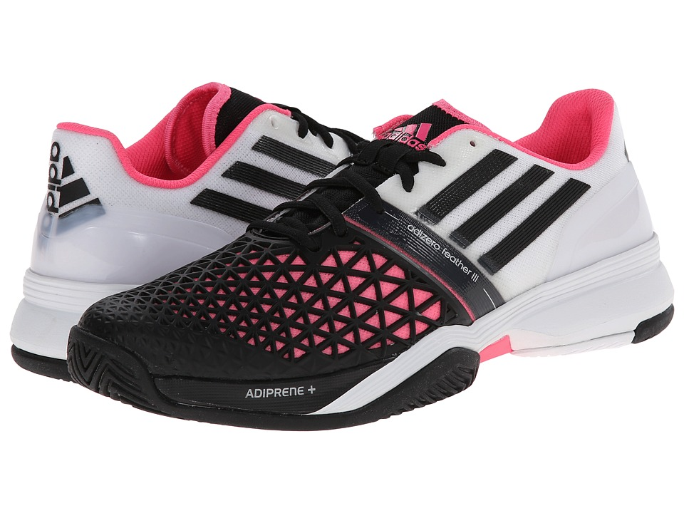 adidas - CC Adizero Feather III (White/Black/Solar Pink) Men's Tennis Shoes