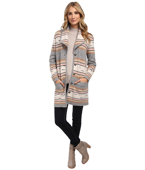 Pendleton - Stripe Sweater Coat (Soft Grey Multi) Women's Sweater