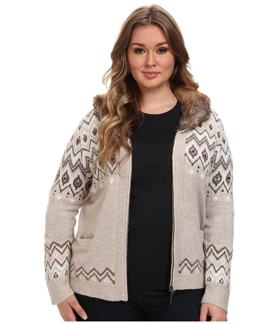 Pendleton - Plus Size Larch Mt Cardigan (Soft Brown Multi) Women's Sweater