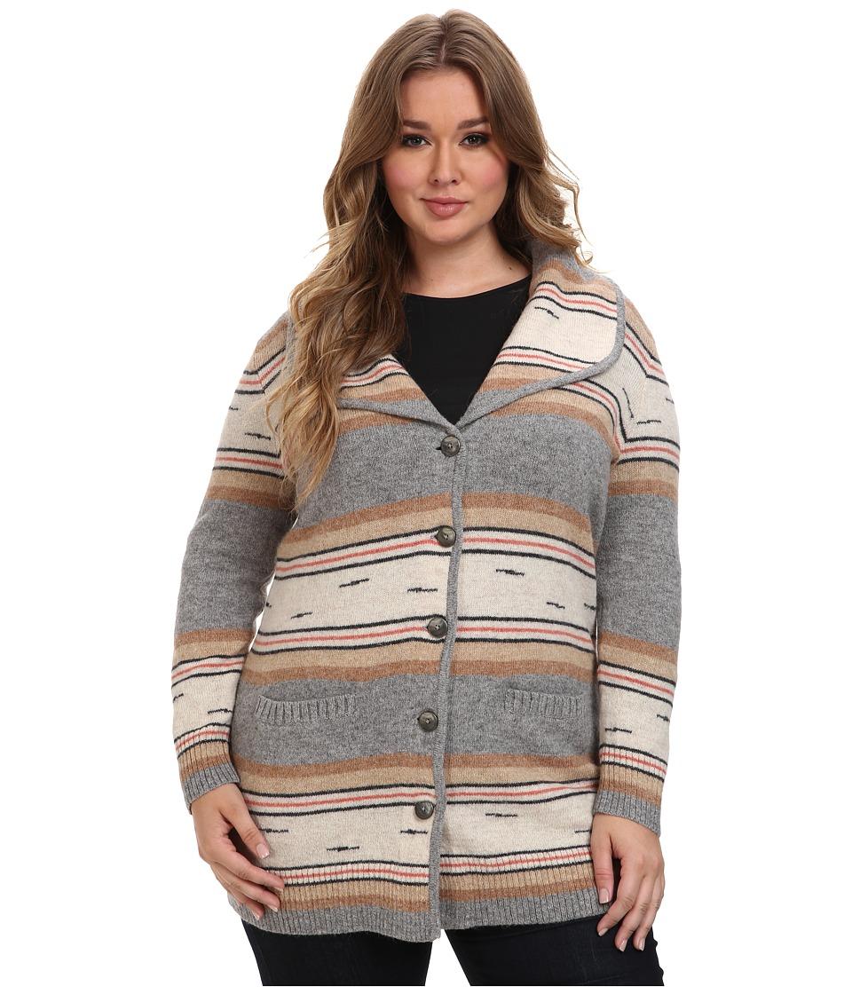 Pendleton - Plus Size Stripe Sweater Coat (Soft Grey Multi) Women