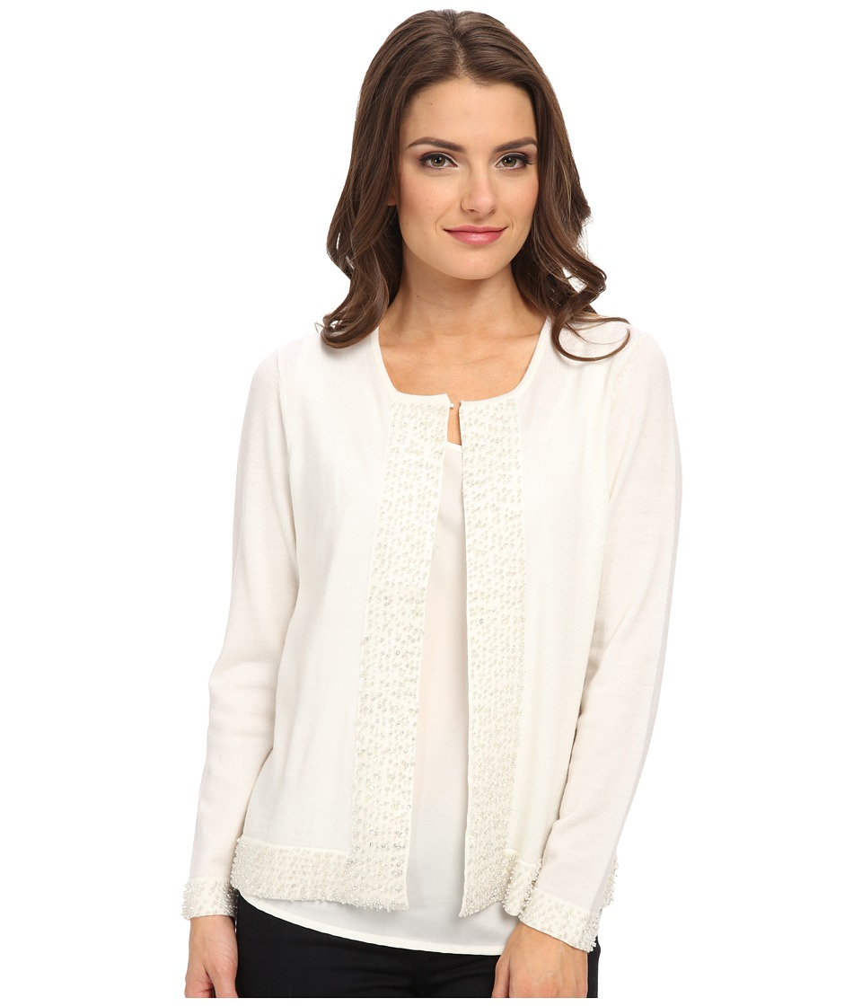 Pendleton - Petite Bejeweled Cardigan (Ivory) Women's Sweater