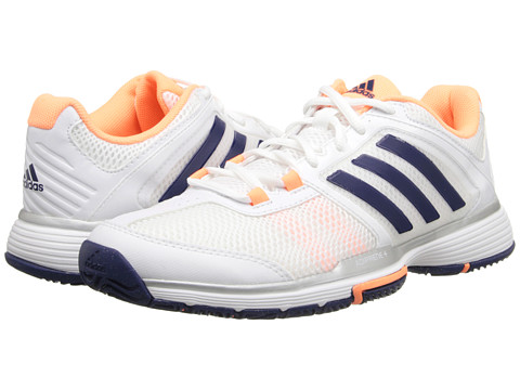 adidas - Barricade Team 4 (White/Night Sky/Flash Orange) Women's Soccer Shoes