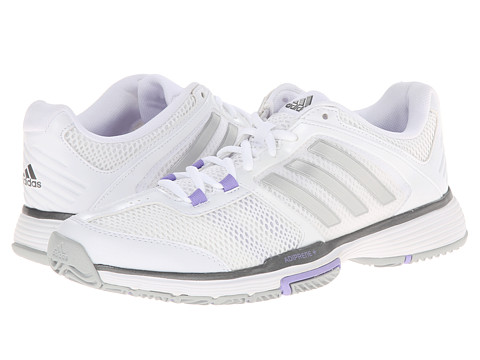 adidas - Barricade Team 4 (White/Silver Metallic/Light Flash Purple) Women's Soccer Shoes