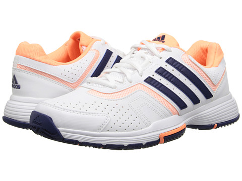 adidas - Barricade Court (White/Night Sky/Flash Orange) Women's Tennis Shoes