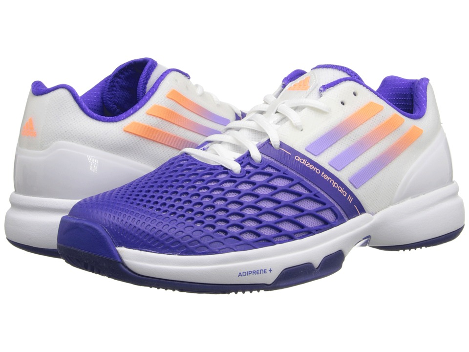 adidas - CC Adizero Tempaia III (White/Light Flash Purple/Night Flash) Women's Tennis Shoes