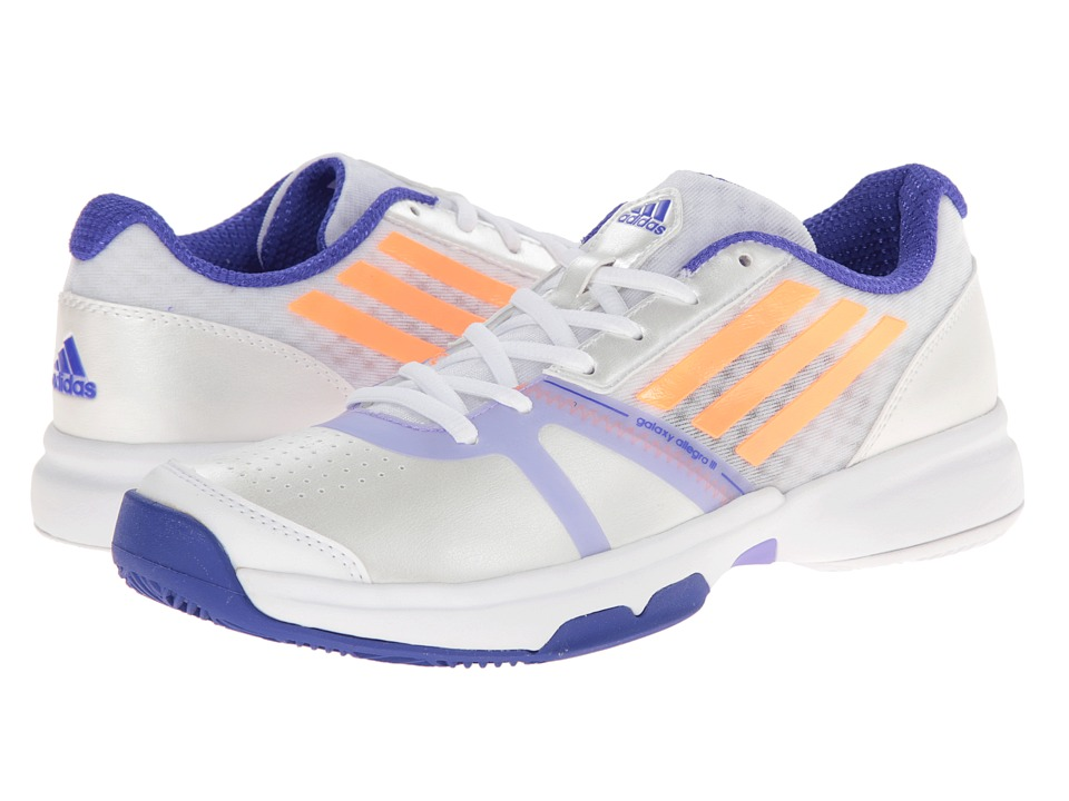 adidas - Galaxy Allegra III (White/Flash Orange/Night Flash) Women's Tennis Shoes