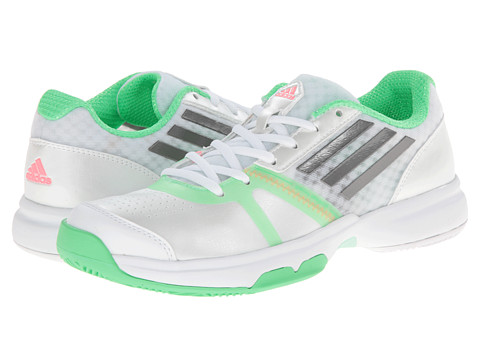 adidas - Galaxy Allegra III (White/Iron Metallic/Flash Green) Women's Tennis Shoes