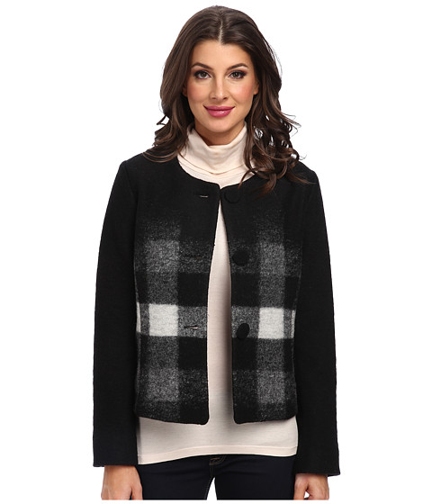 Pendleton - Callista Check Cardigan (Black/Ivory/Grey Heather) Women's Coat