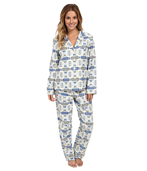 Pendleton - Chief Joseph Flannel Pajamas (Cool Blue Print) Women's Pajama Sets
