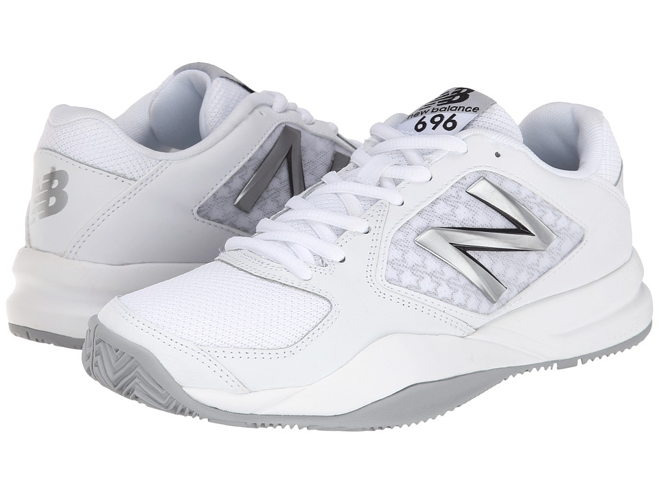 New Balance - WC696v2 (White/Silver) Women's Tennis Shoes