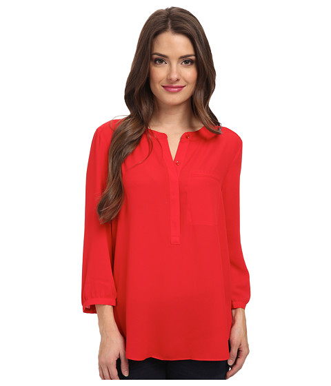 NYDJ Petite - Petite Solid 3/4 Sleeve Pleat Back (Vivid Red) Women