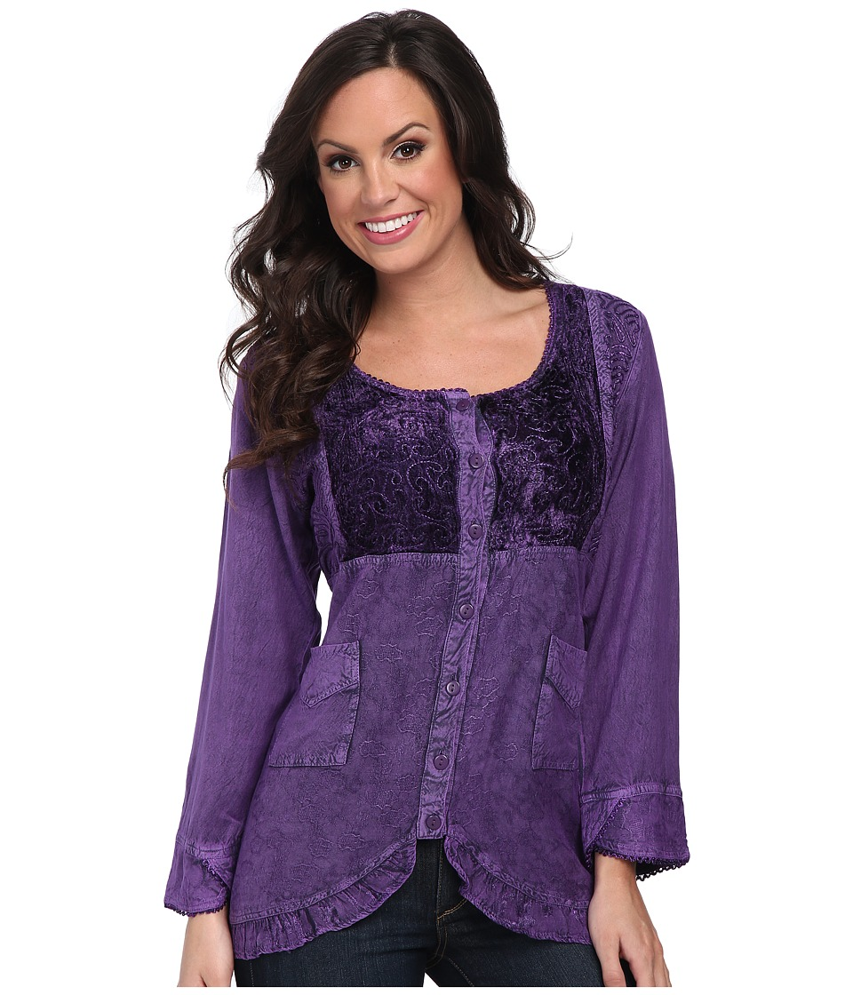 Scully - Honey Creek Eva Velvet Front Blouse (Purple) Women's Blouse