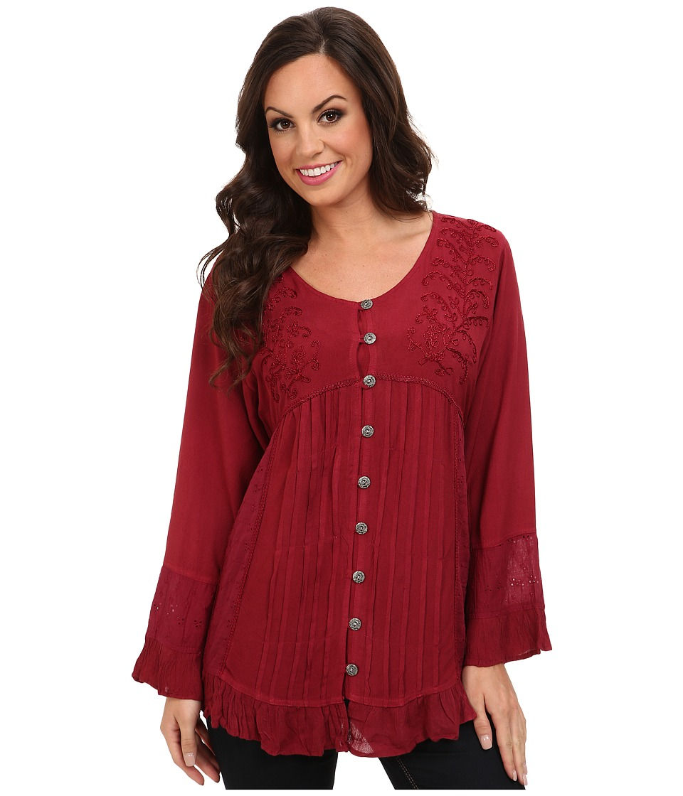 Scully - Honey Creek Josephine Tie Back Blouse (Burgundy) Women's Blouse