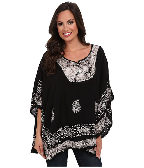 Scully - Honey Creek Marcia Batik Poncho Blouse (Black) Women