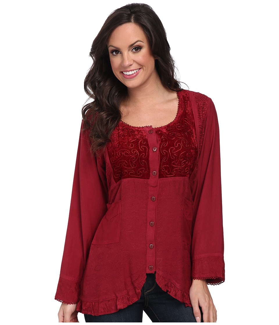 Scully - Honey Creek Eva Velvet Front Blouse (Burgundy) Women