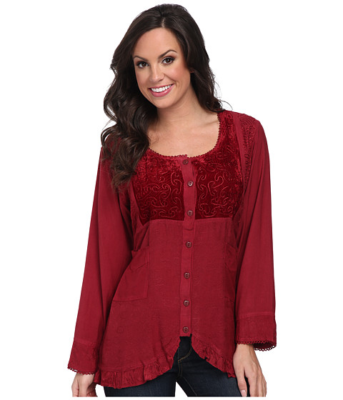 Scully - Honey Creek Eva Velvet Front Blouse (Burgundy) Women's Blouse