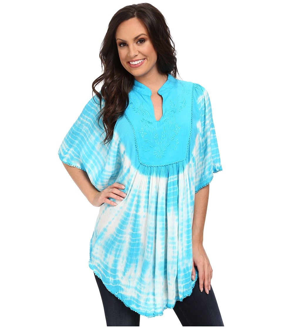 Scully - Honey Creek Ruby Tie Dye Poncho Blouse (Turquoise) Women's Blouse