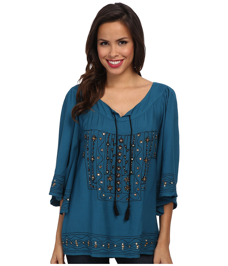 Scully - Juanita Beautifully Embroidered Tunic (Teal) Women