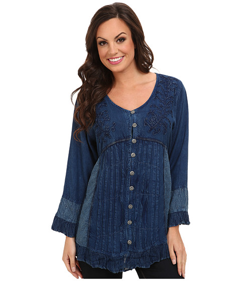 Scully - Honey Creek Josephine Tie Back Blouse (Denim) Women's Blouse