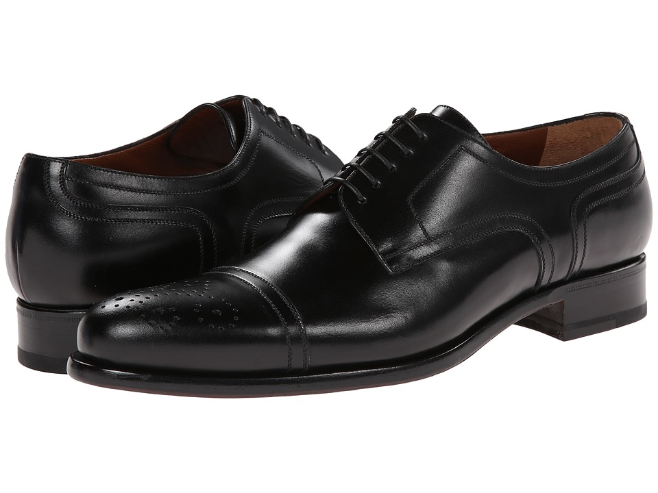 a. testoni - Lux Calf Cap Toe Oxford (Nero) Men's Lace Up Cap Toe Shoes