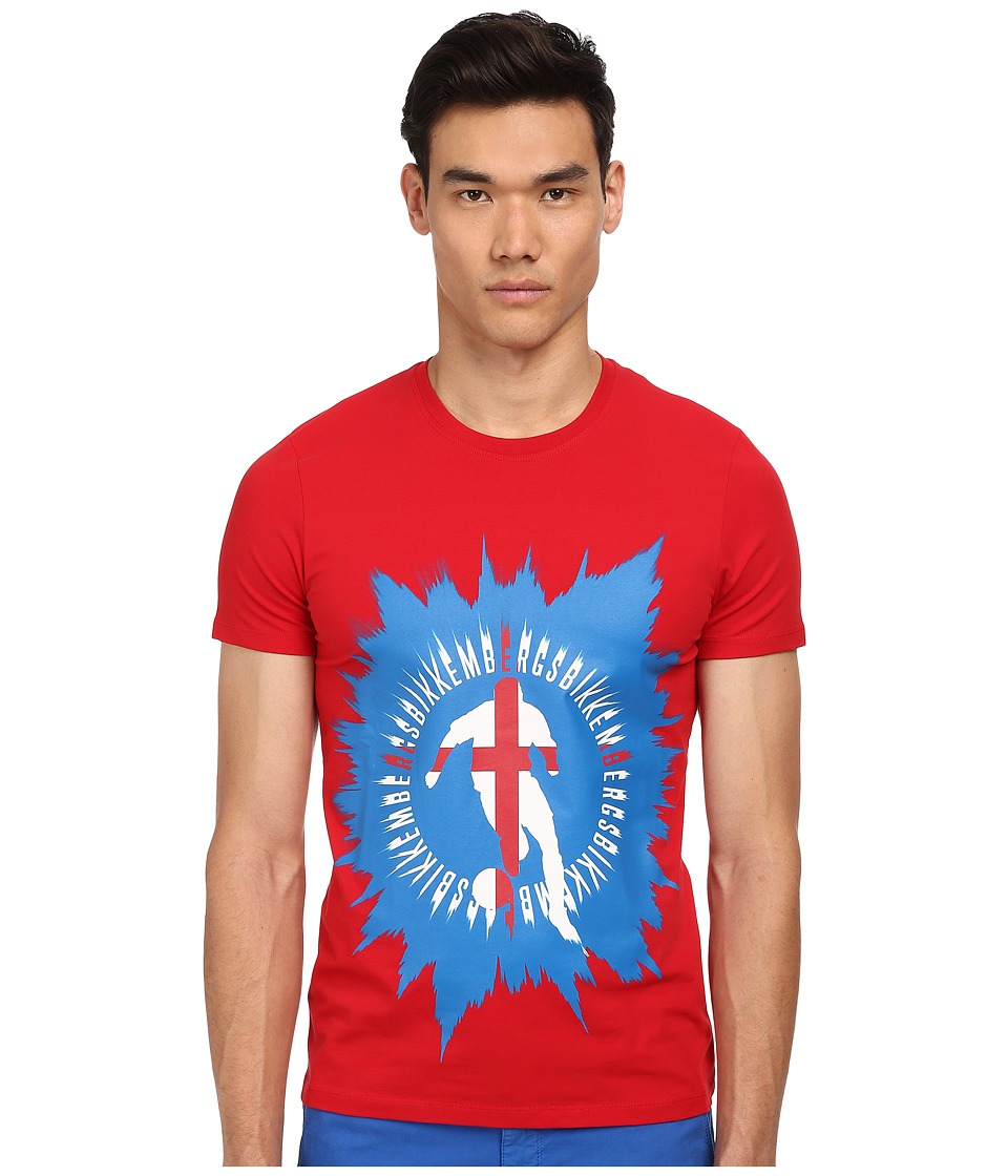 Bikkembergs - Soccer Player Graphic Tee (Red) Men's Short Sleeve Pullover