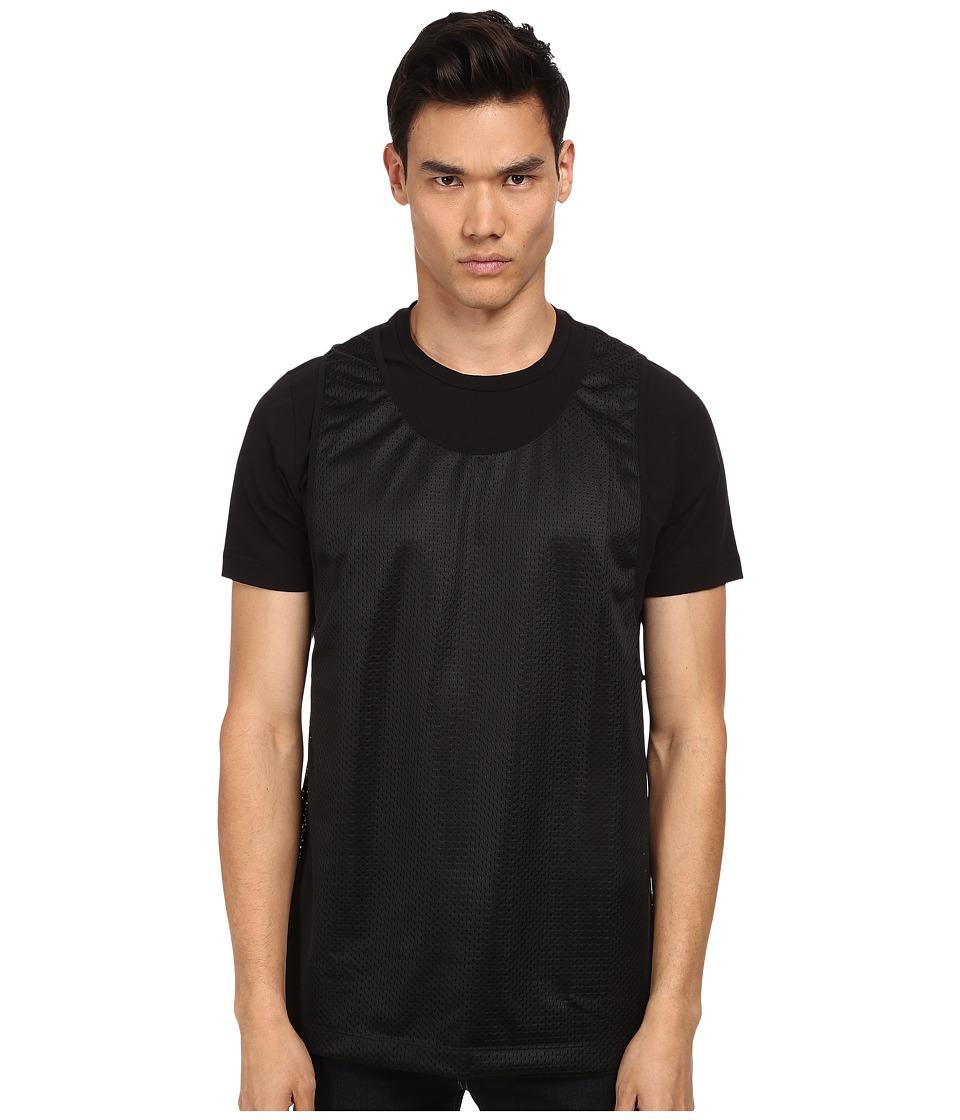 Bikkembergs - Mesh Overlay Tee (Black) Men's Short Sleeve Pullover