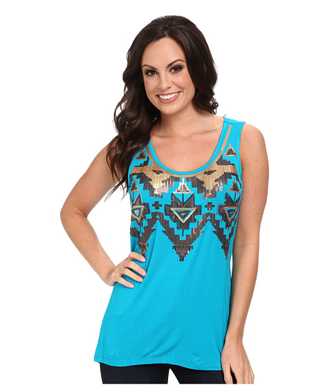 Scully - Patty Hi/Lo Sequin Tank (Teal) Women's Sleeveless