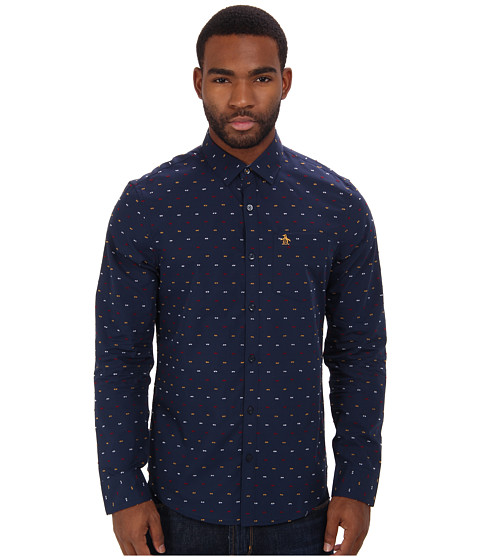 Original Penguin - Reverse Clipped Dobby Yarn Dyed L/S Woven (Dress Blues) Men's Long Sleeve Button Up