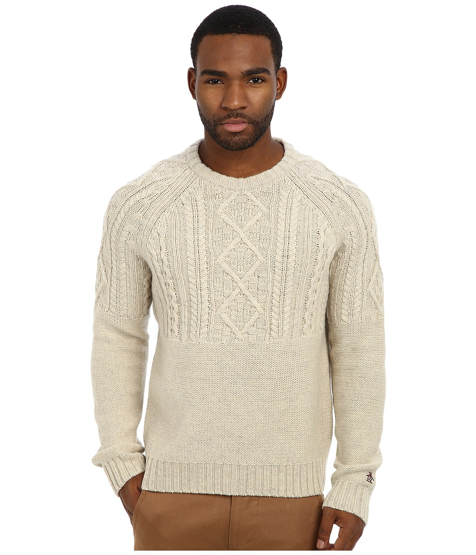 Original Penguin - L/S Raglan Crew Neck w/ Engineered Cable Pattern On Front (Oatmeal) Men