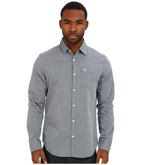 Original Penguin - Printed Oxford L/S Woven (Dress Blues) Men's Long Sleeve Button Up